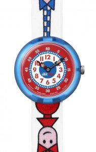 The Watch: Flik Flak Ticking Right Blue Textile Strap Blue Plastic Case Kids' Boys Girls Watch FBNP079 32mmLearning to tell the time? be in the capable hands of brother and sister duo Flik and Flak with this Flik Flak Ticking Right Kids' Watch (FBNP079). Guaranteed to make learning to tell the time fun! Key Features:Quartz Movement3 bar waterproof meterShock resistantFabric strapPlastic case and clasp The Brand: Flik FlakFlik Flak are the world's favourite children's watches. Founded in 1987, the brand is a division of the Swatch group, with its use of the brother and sister pairing of Flik and Flak throughout the collection ensuring that learning to tell the time remains fun and entertaining.