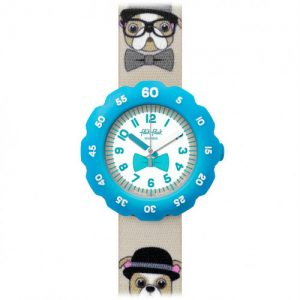 The Watch: Flik Flak Chapeau Melon Brown Plastic Case Brown Textile Case Kids' Boys Dog Watch FPSP024 35mmThis Flik Flak Chapeau Melon Kids' Watch (FPSP024) features a fun and stylish rotating bezel and is perfect for kids learning to tell the time. Key Features:Quartz MovementFabric StrapResin CaseWater Resistant to 30mShockproof The Brand: Flik FlakFlik Flak are the world's favourite children's watches. Founded in 1987, the brand is a division of the Swatch group, with its use of the brother and sister pairing of Flik and Flak throughout the collection ensuring that learning to tell the time remains fun and entertaining.