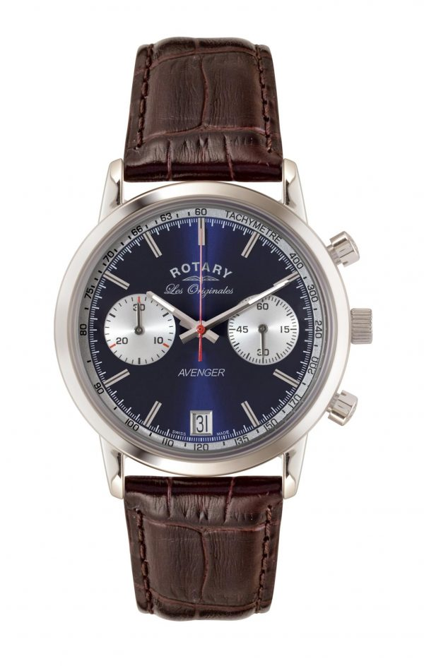 Rotary Les Originales Silver Stainless Steel case Brown Leather Strap Mens GS90130/05 40mmThis RotaryLes Originales Silver Stainless Steel case Brown Leather Strap Mens GS90130/05 makes a sleek and refined style statement. Featuring a stunningblue dial, theGS90130/05 also has a sleek leather strap and a highly practicaldate window. This results in a stunning timepiece that makes the perfect addition to any wrist.Key Features:Quartz MovementBlue DialBuckle ClaspThe Brand: RotaryFamed for his attention to detail and keen business acumen, Moise Dreyfuss established Rotary Watches in the Swiss town of La Chaux-de-Fonds in 1895. After a mere twelve years of trading, two further members of the Dreyfuss family, Georges and Sylvain, opened an office in Britain in order to facilitate the import of the family's watches. The UK proved to be the company's most lucrative market, and with sales booming, Rotary introduced its now iconic winged wheel logo in 1925. Following the outbreak of the Second World War, Rotary became the official timepiece supplier to the British Army, with the government's policy of mass conscription meaning that, once the war ended, there was a Rotary in practically every home. As the twentieth century progressed, Rotary became famed for its sponsorship of sporting events, the most notable of these being its partnership with the British Racing Motors F1 team in 1976 and its teaming up with Chelsea F.C. in 2015. Still operated and owned by the Dreyfuss family to this day, Rotary continues to produce the type of highly affordable and yet incredibly well-made timepieces that have defined the brand's output since its inception.