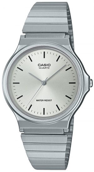 Casio Collection Quartz Silver Resin Case Steel Bracelet Ladies Watch MQ-24D-7EEF 35mmAs part of the Casio collection, this Casio Collection Quartz Silver Resin Case Steel Bracelet Ladies Watch MQ-24D-7EEF 35mm has a simplistic yet classic look to it. In terms of the dial, the ever present Casio logo is found at the 12 o'clock position with the silver coloured hands powered by a quartz movement. The dial is protected by acrylic glass and a silver resin case. To equip this timepiece a silver stainless steel strap is fastened using a click closure buckle to sit comfortably around ones wrist.This watch has a water resistance of 50 metres, making it suitable for surface swimming but should not be submerged to any significant depths.Key Features: Casio CollectionQuartz MovementSilver Resin CaseSilver Stainless Steel BraceletAcrylic Glass50m Water ResistantClick ClosureThe Brand: CasioCasio was established in 1946 by Japanese engineer Tadao Kashio. The company entered the timepiece market in 1974 with the release of the Casiotron, the world's first Auto Calendar watch. Only eleven years after entering this field, Casio completely reshaped global thought about the function a watch should perform with the release of the pioneering and now legendary G-Shock family. Innovation and world firsts have defined the company's history ever since, the most striking of these being the release of the first ever touch screen watch in 1991, 24 years before the Apple Watch, and the first ever wrist camera watch in 2000. In short, Casio was producing smartwatches decades before the term had even been coined. Add to this the hipster popularity of the company's retro designs, and Casio has firmly cemented its reputation as a famously reliable and precise name in both analog and digital watches.