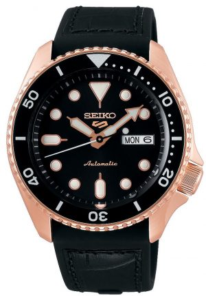 Seiko 5 Sports Rose Gold Steel Case Black Silicone Strap Automatic Men's Watch SRPD76K1Part of the new 2019 Seiko 5 sports range, this Seiko 5 Sports Watch SRPD76K1 comes in a stylish style. Firstly, a black dial is complimented by silver indexes and hands powered by a strong automatic movement. This type of engine provides an accuracy rating of +45 to -35 seconds per day. The power reserve for this calibre is around the 40 hour mark, allowing you to take it off for the weekend.Furthermore, when the crown is pulled out a hack feature means that the second hand will come to a stop. The hands and indexes are coated in a LumiBrite material which allows for easy visibility at night. Additionally, the new Seiko 5 Sports logo can be found at the 12 o'clock position which resembles the Superman logo with a blend of the '5' and the 'S'. Moreover, working clockwise, at the 3 o'clock position is a simplistic white and black day and date dial which can be displayed in English or French. Additionally, the movement of automatic is labelled by the 6 o'clock position in fancy writing which brings out the stylish side of this timepiece.The dial is protected by a thick stainless steel case as well as hardlex crystal glass to provide the protection it deserves. Also, a black bezel sits on-top of the case in increments of ten. The crown can be found at the 4 o'clock position with a raised shield to prevent it being knocked out of place. On the flip side is a open case back which allows you to see all the features and intricate workings of the watch. Then ablack silicone strapcan be fastened using a standard buckle.Finally, this watch has a water resistance of 100 metres, making it suitable for swimming and snorkelling.Key Features:5 Sports FamilyBlack DialSilver Stainless Steel CaseBlack Silicone StrapAutomatic MovementCaliber 4R36Manual Winding Capacity+-45 Seconds Per DayApprox. 41 Hour DurationHardlex CrystalLumiBrite100m Water ResistantScrew Case BackSee-Through Case BackUnidirect