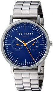 """Ted Baker Brit Stainless Steel Case Stainless Steel Strap Mens Watch TE50274007 40mmPart of the popularBrit family, this Ted Baker Brit Stainless Steel Case Stainless Steel Strap Mens Watch (TE50274007) features a charmingdark blue dial, a smoothsilver stainless steelstrap and a silver stainless steel case.Key Features:Blue DialQuartz Movement30m Water ResistantHour, Minute, Second HandsFold Over ClaspMineral GlassThe Brand: Ted BakerBeginning as a shirt specialist in Glasgow in 1987, Ted Baker continues to operate under its founding ethos: """"No ordinary designer label."""" This approach is evident in the brand's timepiece output, as each model has a unique sense of individuality woven into its make-up. A timeless name in British fashion, Ted Baker is sure to offer something to suit all tastes."""