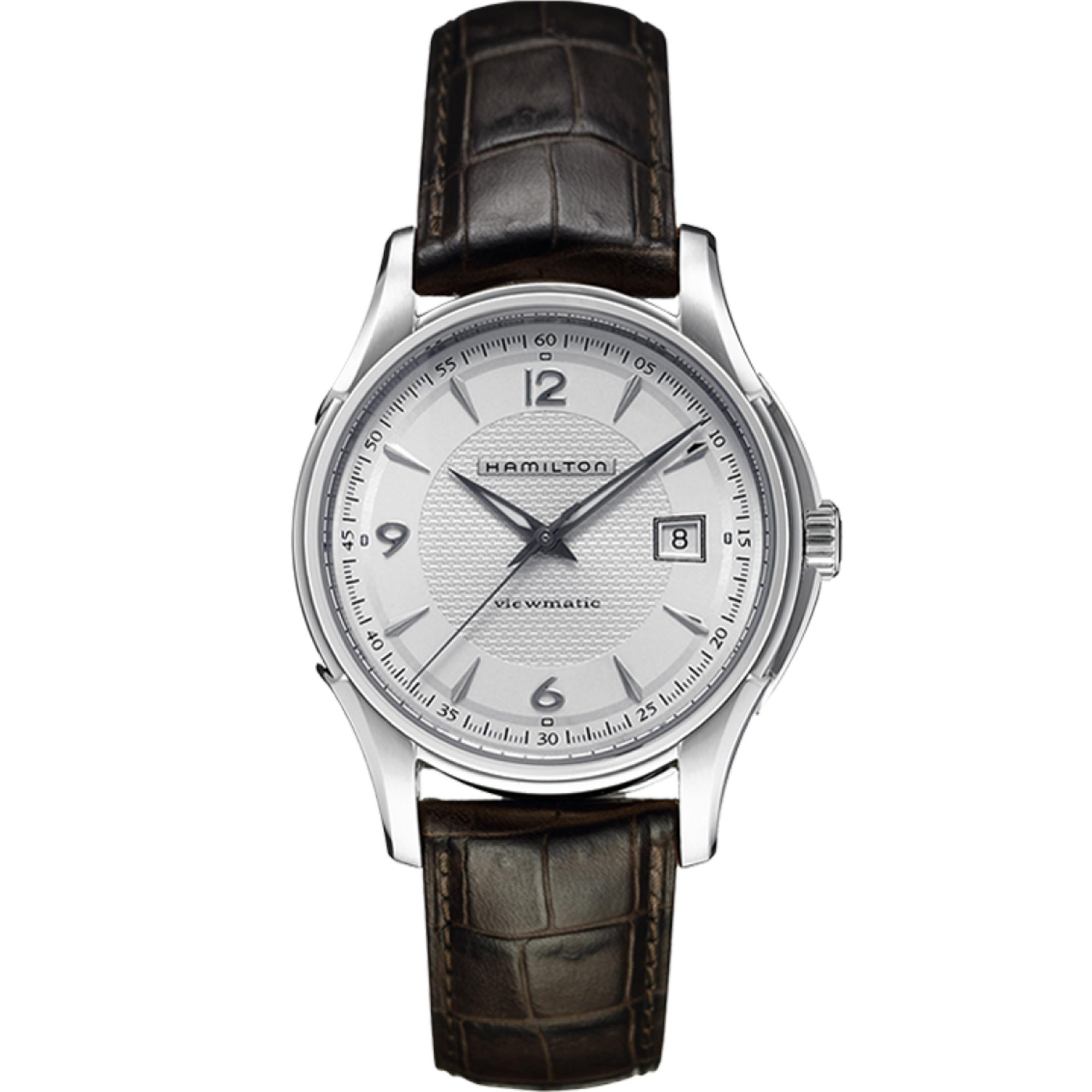 Hamilton Jazzmaster Viewmatic Automatic Silver Dial Brown Leather Strap Men's Watch H32515555 RRP £565