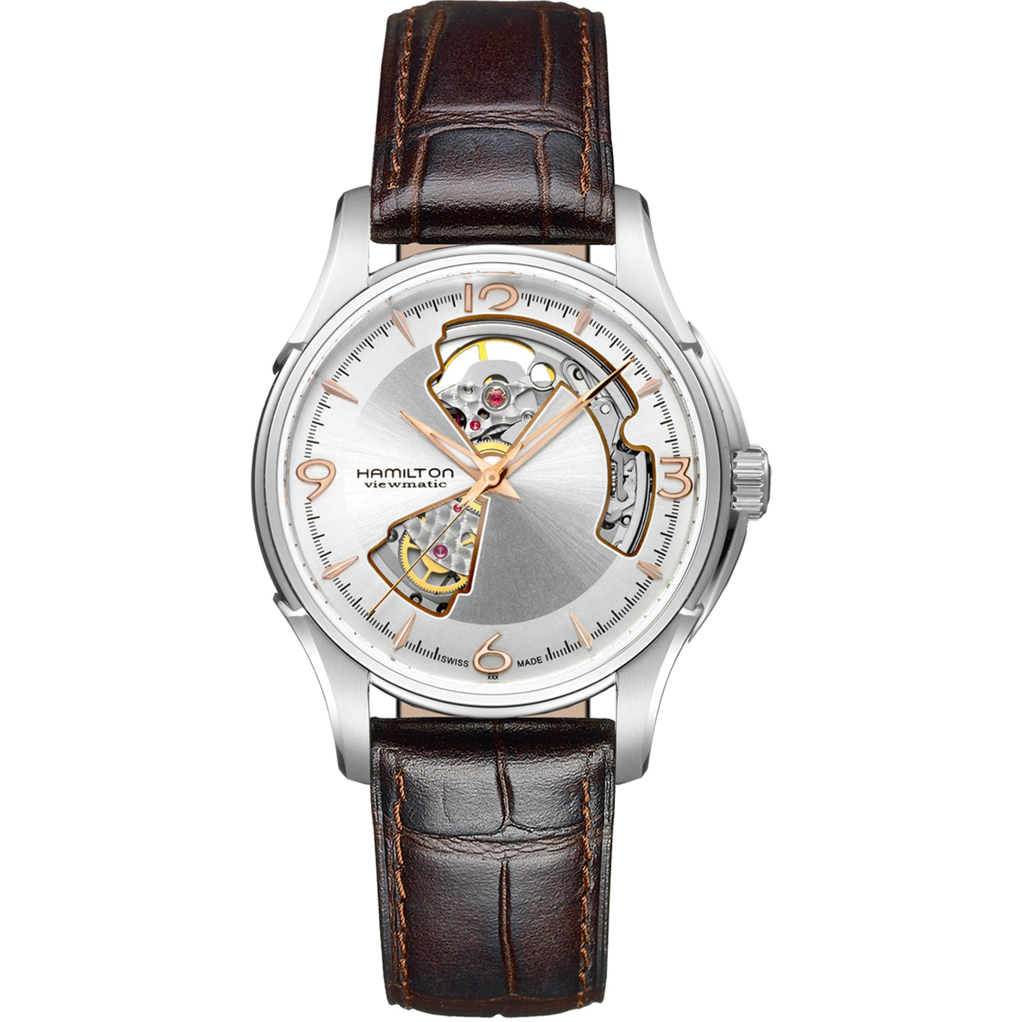Hamilton Jazzmaster Automatic Open Heart Silver Dial Brown Leather Strap Men's Watch H32565555 RRP £725