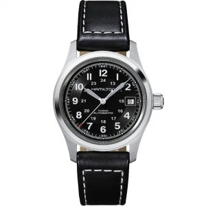 Hamilton Khaki Field Automatic Black Dial Leather Strap Men's Watch H70455733 RRP £465