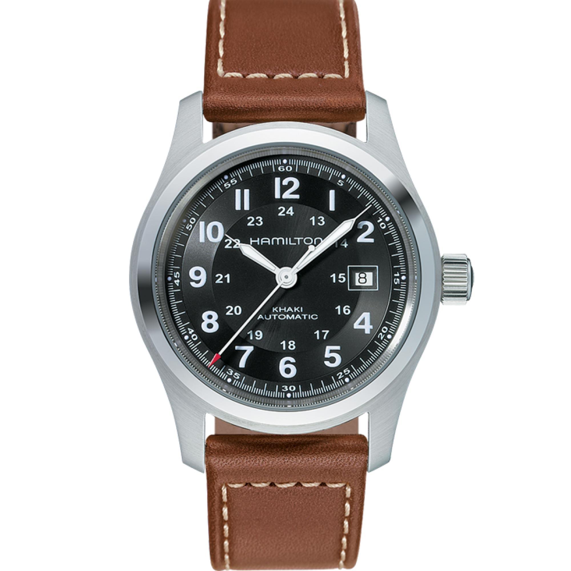 Hamilton Khaki Field 'The Avengers' Automatic Black Dial Brown Leather Strap Men's Watch H70555533 RRP £465