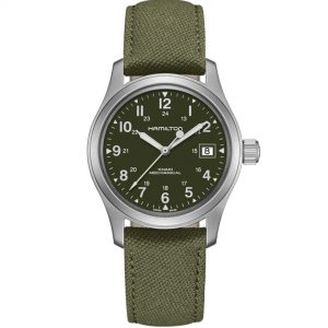 Hamilton Khaki Field Officer Mechanical Green Dial Canvas Strap Men's Watch H69439363 RRP £395