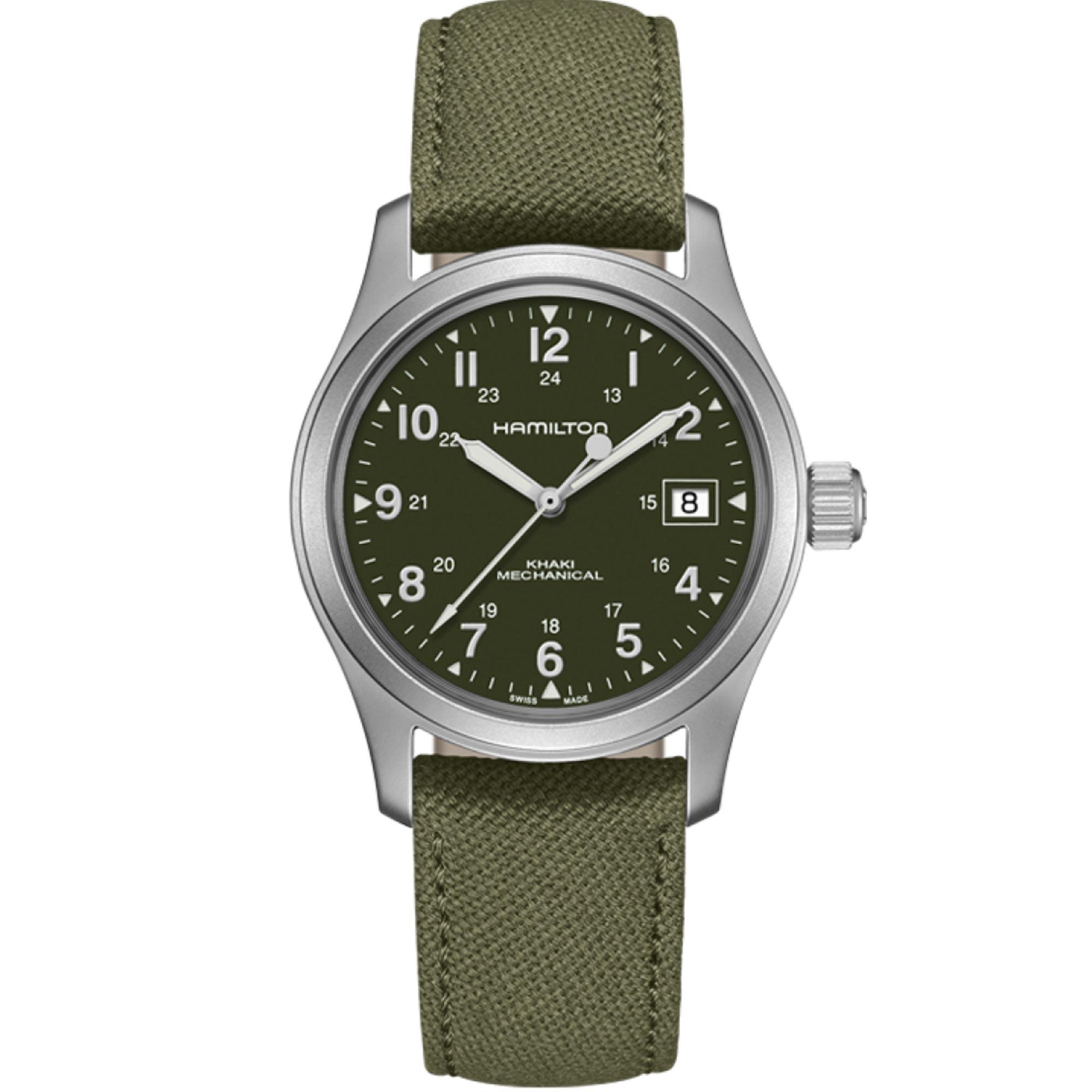 Hamilton Khaki Field Officer Mechanical Green Dial Canvas Strap Men's Watch H69439363 RRP £395