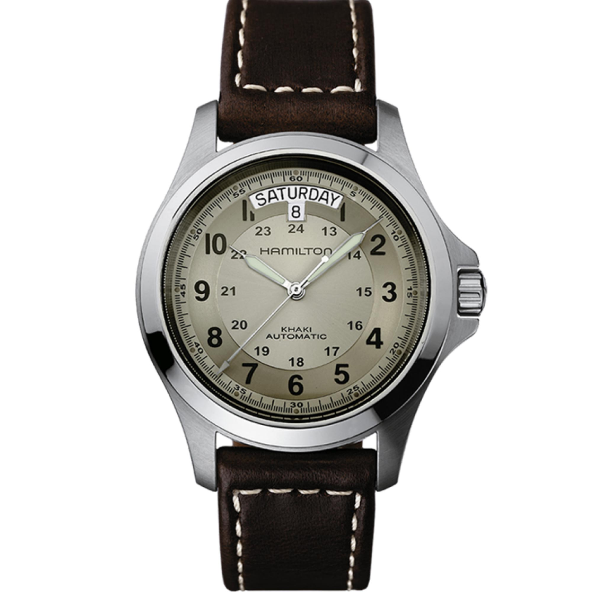 Hamilton Khaki Field Pioneer King Automatic Beige Dial Brown Leather Strap Men's Watch H64455523 RRP £430