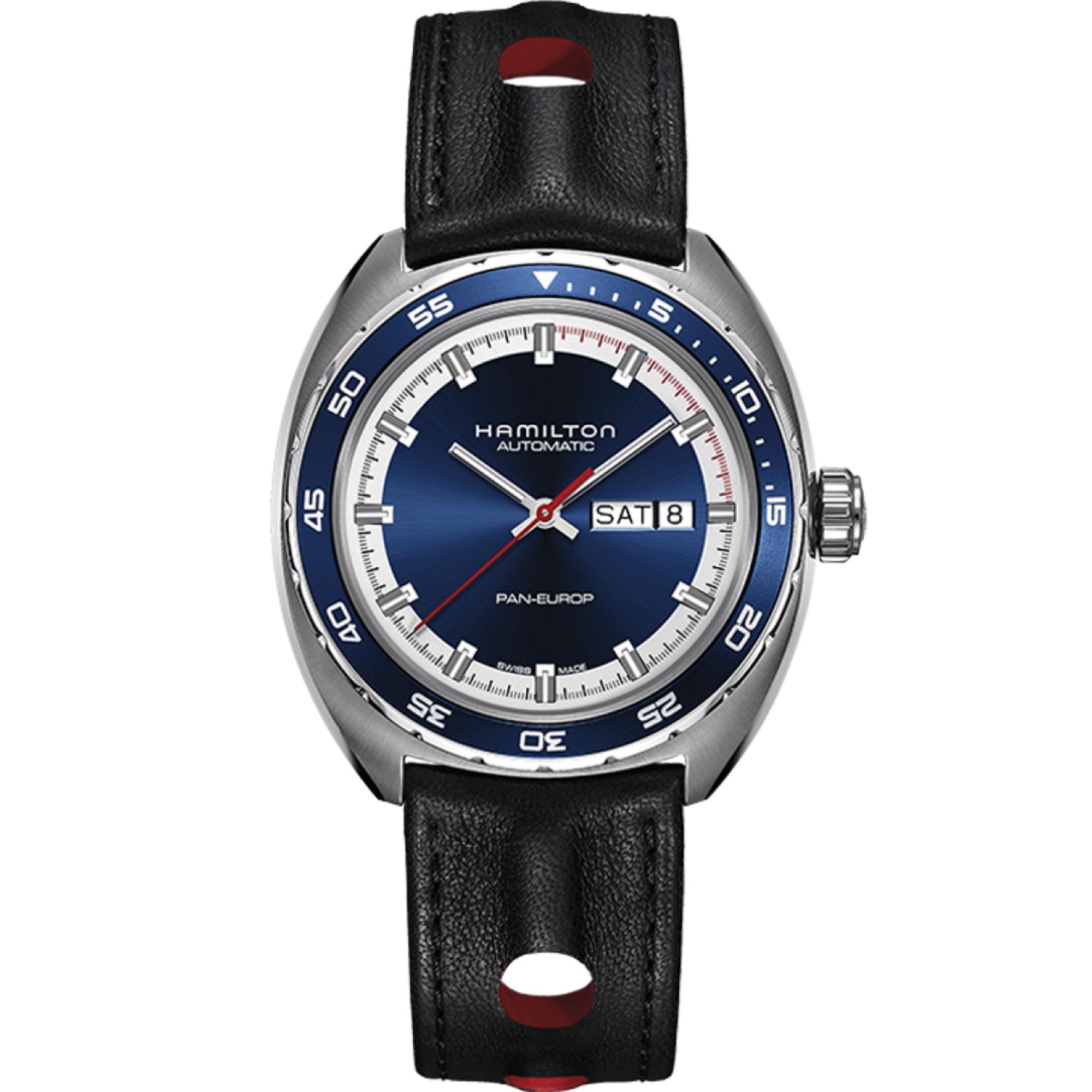 Hamilton Pan Europ Auto American Classic Black Leather Strap Blue Dial Men's Watch H35405741