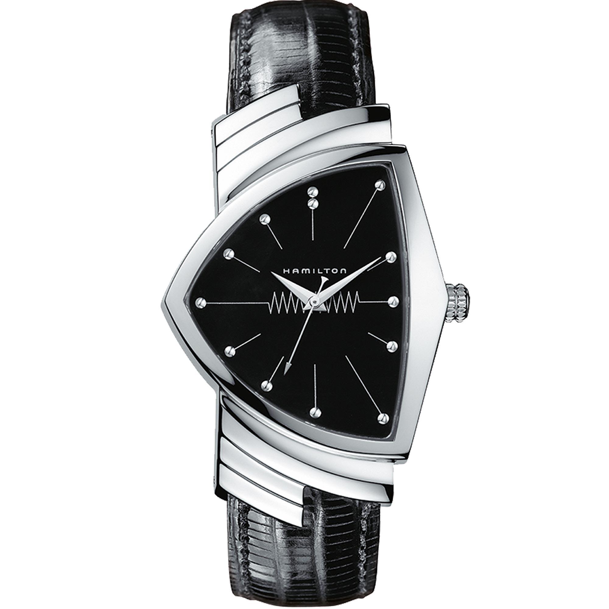 Hamilton Ventura 1957 Recreation 'Men In Black' Quartz Black Dial Leather Strap Men's Watch H24411732 RRP £690