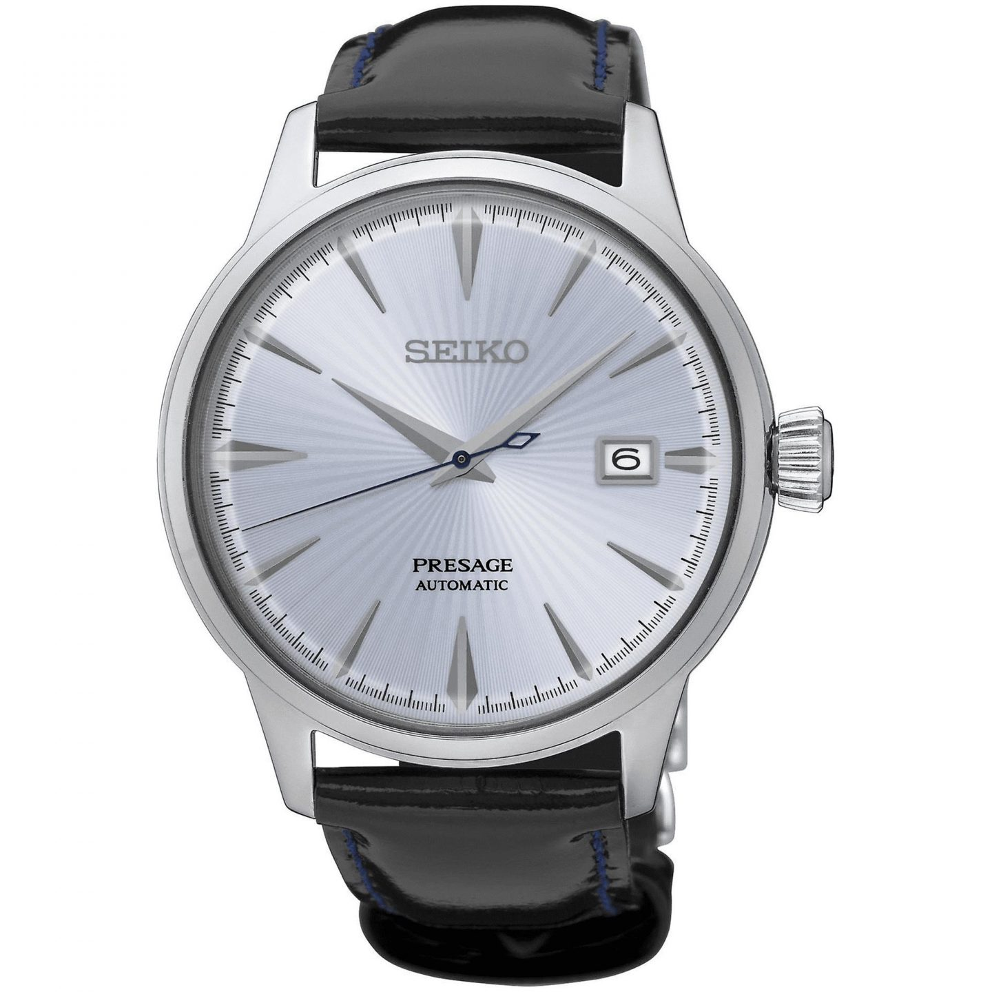 Seiko Presage Cocktail Automatic Blue Dial Leather Strap Mens Watch SRPB43J1 40.5mm