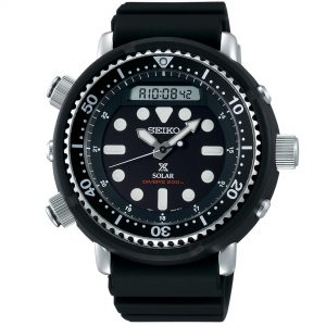 Seiko Prospex 'Arnie' Predator Solar 'Tuna' Black Dial Silicone Strap Diver's Men's Watch SNJ025P1