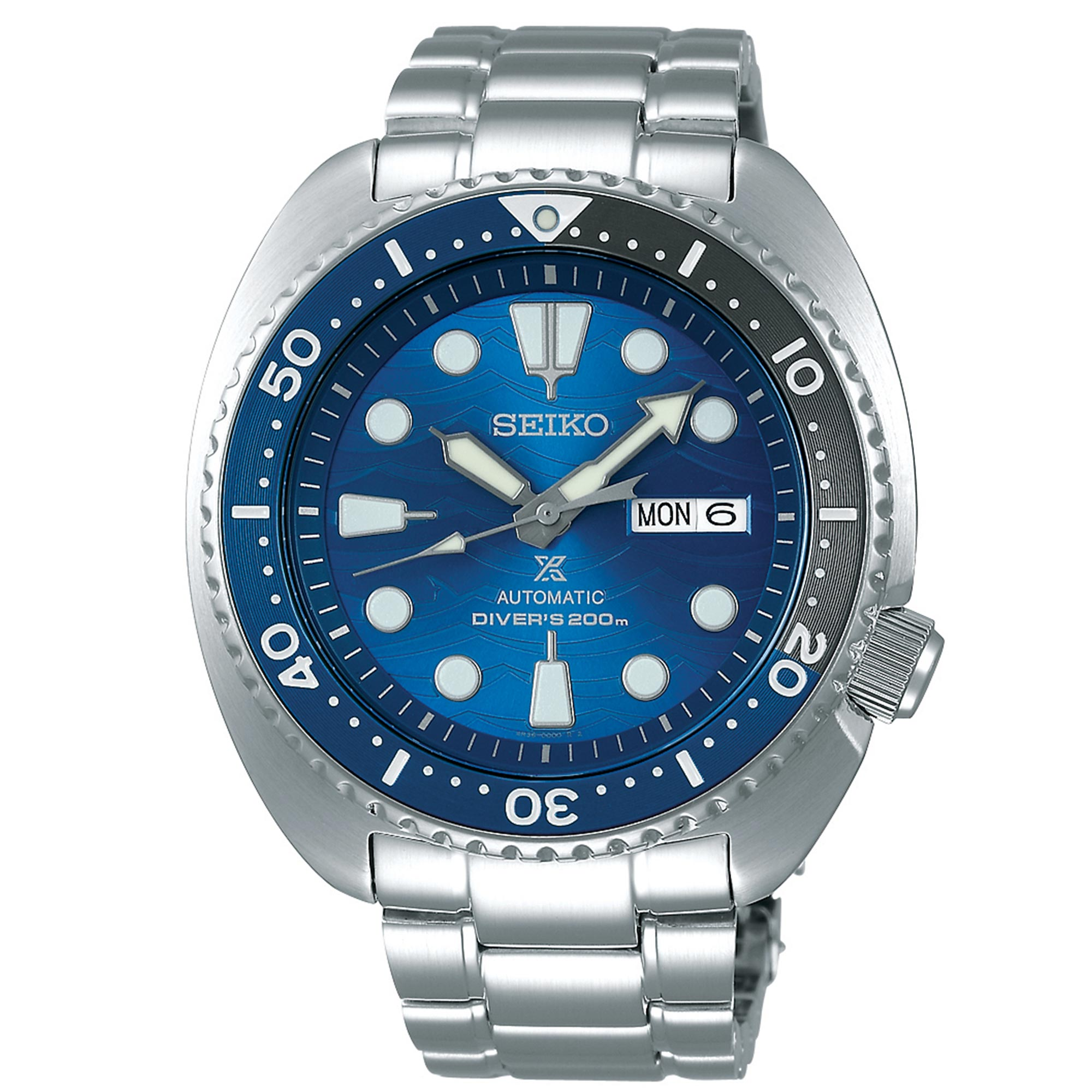 Seiko Special Edition Prospex Save The Ocean 'Great White' Automatic Turtle Blue Dial Silver Stainless Steel Men's Watch SRPD21K1 RRP £430