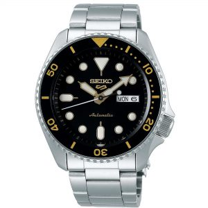 Seiko 5 Sports Black Dial Silver Stainless Steel Bracelet Automatic Men's Watch SRPD57K1