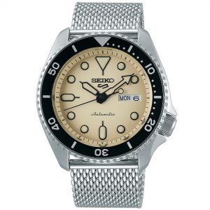 Seiko 5 Sports Cream Dial Silver Steel Mesh Bracelet Automatic Men's Watch SRPD67K1