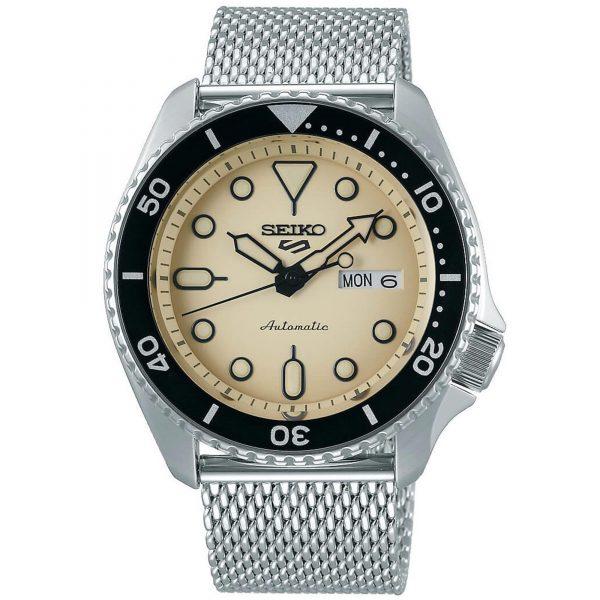 Seiko 5 Sports Cream Dial Silver Steel Mesh Bracelet Automatic Men's Watch SRPD67K1