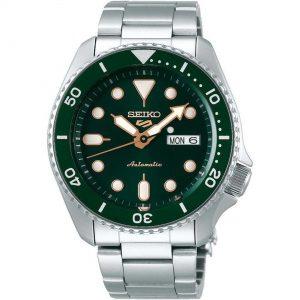 Seiko 5 Sports Green Dial Silver Stainless Steel Bracelet Automatic Men's Watch SRPD63K1