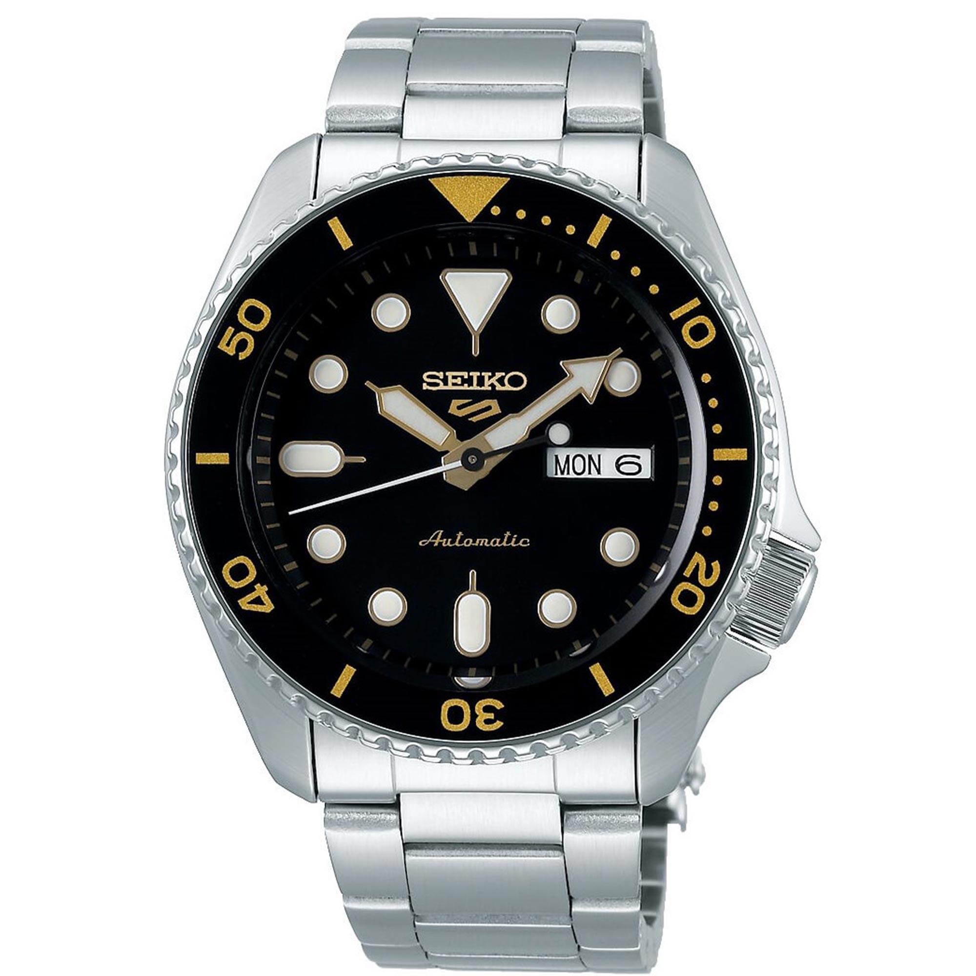Seiko 5 Sports Black Dial Silver Stainless Steel Bracelet Automatic Men's Watch SRPD57K1
