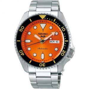 Seiko 5 Sports Orange Dial Silver Stainless Steel Bracelet Automatic Men's Watch SRPD59K1