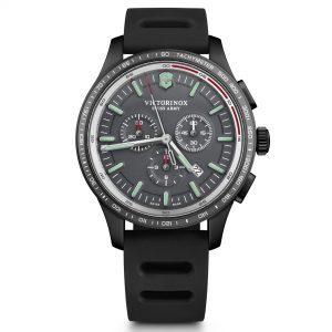 Victorinox Alliance Sport Chronograph Tachymeter Black Genuine Rubber Strap Mens Watch 241818 44mm