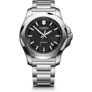 Victorinox I.N.O.X Mechanical Automatic Black Guilloche Dial Mens Watch 241837 43mm