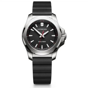 Victorinox I.N.O.X V Black Rubber Silver Stainless Steel Quartz Ladies Watch 241768