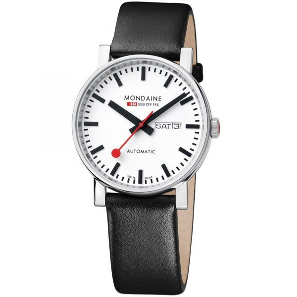 Mondaine Evo Automatic Stainless Steel Case Black Leather Strap Men's Watch A132.30348.11SBB 40mm