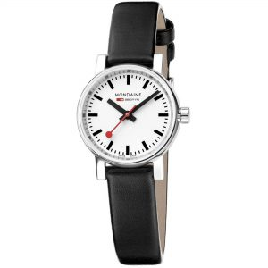 Mondaine evo2 Petite Stainless Steel Case Black Leather Strap Ladies Watch MSE.26110.LB 26mm
