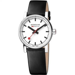 Mondaine Evo2 Quartz Watch Analogue Classic Display Leather Strap Ladies Watch MSE.30110.LB
