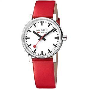 Mondaine evo2 Red Leather Strap 35mm Ladies' Watch