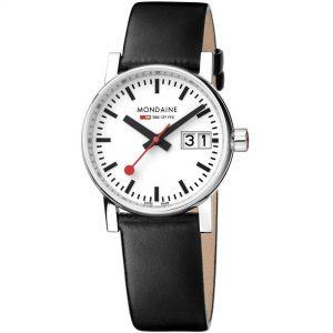 Mondaine evo2 Stainless Steel Case Black Leather Strap Ladies Watch MSE.30210.LB 30mm