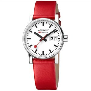 Mondaine evo2 Stainless Steel Case Red Leather Strap 30mm Ladies' Watch MSE.30210.LC