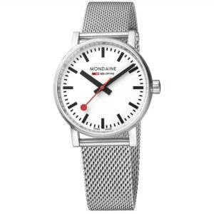 Mondaine evo2 Stainless Steel Case Stainless Steel Mesh Bracelet 35mm Ladies' Watch MSE.35110.SM