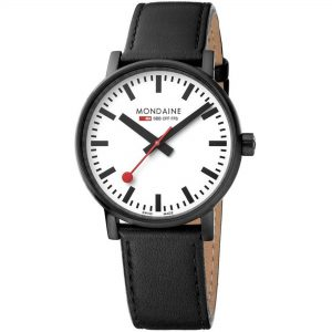Mondaine Mens Black Stainless Steel Case Black Leather Strap Watch MSE.40111.LB 40mm