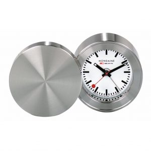 Mondaine SBB Travel Alarm Clock Quartz Table Clock White Dial Display MSM.64410 Clocks