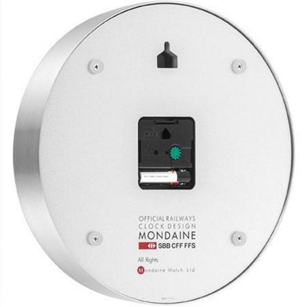 Mondaine Silver Aluminum Case Clock MSM.25S10 250mm