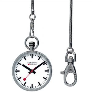 Mondaine Silver Stainless Steel White Dial Quartz Pocket Watch A660.30316.11SBB