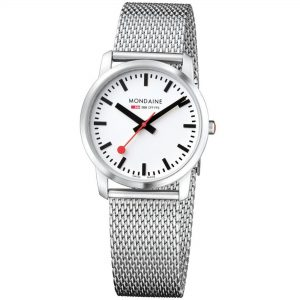 Mondaine Simply Elegant Stainless Steel Case Stainless Steel Mesh Bracelet Ladies' Watch A400.30351.16SBM 36mm