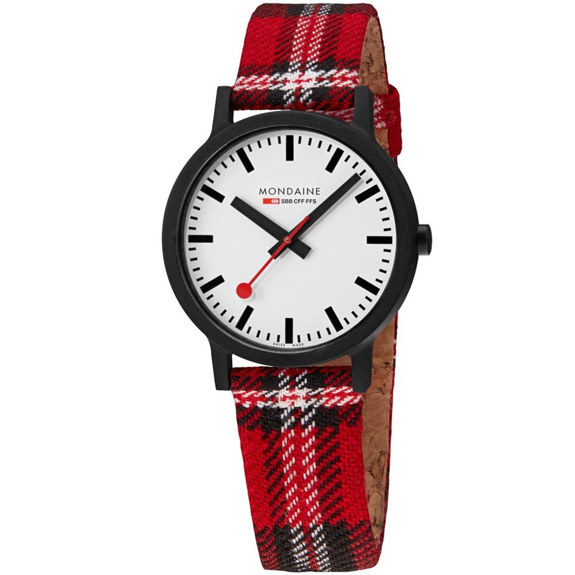 Mondaine Essence Quartz White Dial Tartan Cork Strap Unisex Watch MS1.41111.LC
