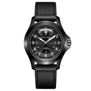 Hamilton Khaki Field King Automatic Black Dial Leather Men's Watch H64465733