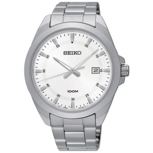 Seiko Classic Quartz White Dial Silver Stainless Steel Bracelet Men's Watch SUR205P1
