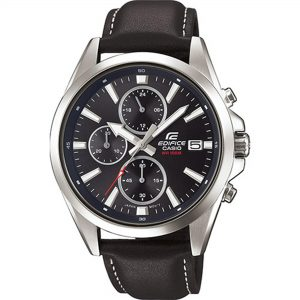 Casio Edifice Quartz Analogue Black Dial Leather Strap Men's Watch EFV-560L-1AVUEF