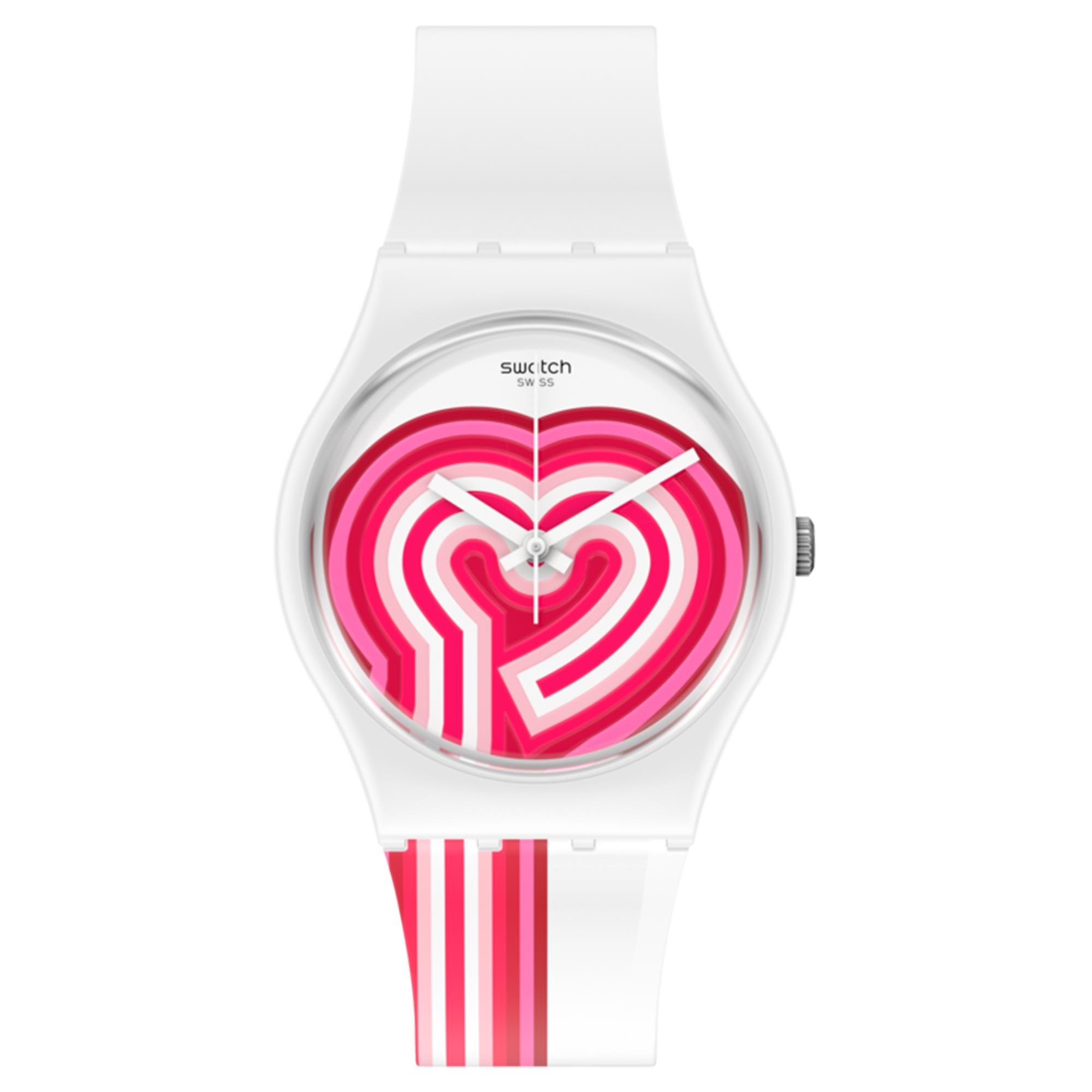 Swatch BeatPink Quartz Pink Dial White Silicone Strap Watch GW214