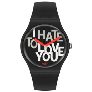 Swatch Hate 2 Love Quartz Black Dial Silicone Strap Watch SUOB185