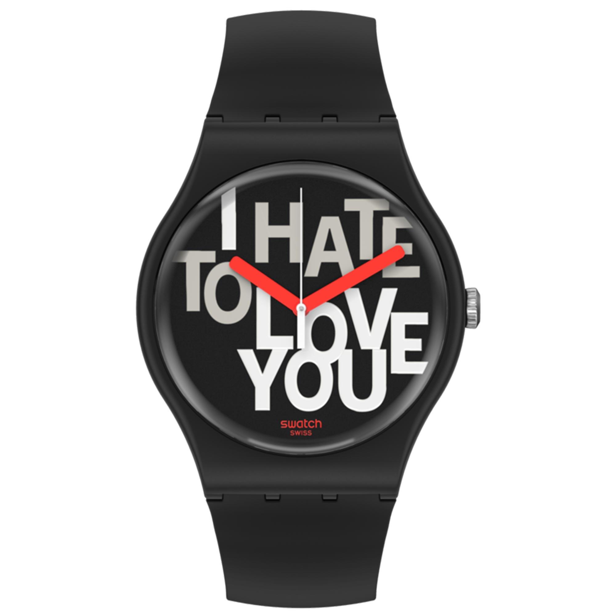 Swatch Hate 2 Love Quartz Black Dial Silicone Strap Watch SUOB185