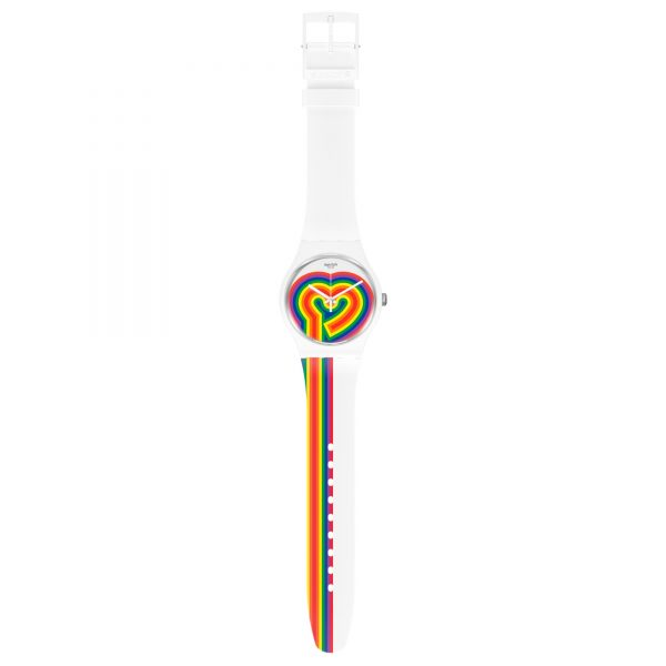 Swatch Beating Love Quartz White Dial Silicone Strap Watch SUOW171