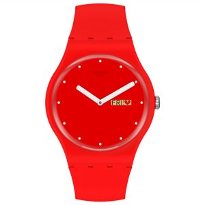 Swatch P(e/a)nse Moi Quartz Red Dial Silicone Strap Watch SUOZ718