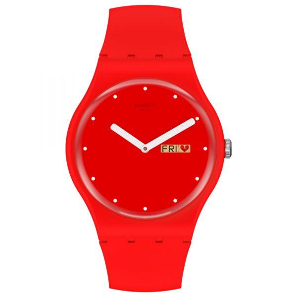 Swatch P(e/a)nse Moi Quartz Red Dial Silicone Strap Watch SUOZ718
