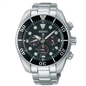 Seiko Prospex 'Island Green' Solar Chronograph 'Sumo' Silver Stainless Steel Men's Watch SSC807J1